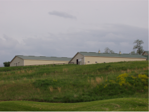 View of the Indoor Arena and Horse Barns from the Beacon Hill Golf Course in Leesburg, VA